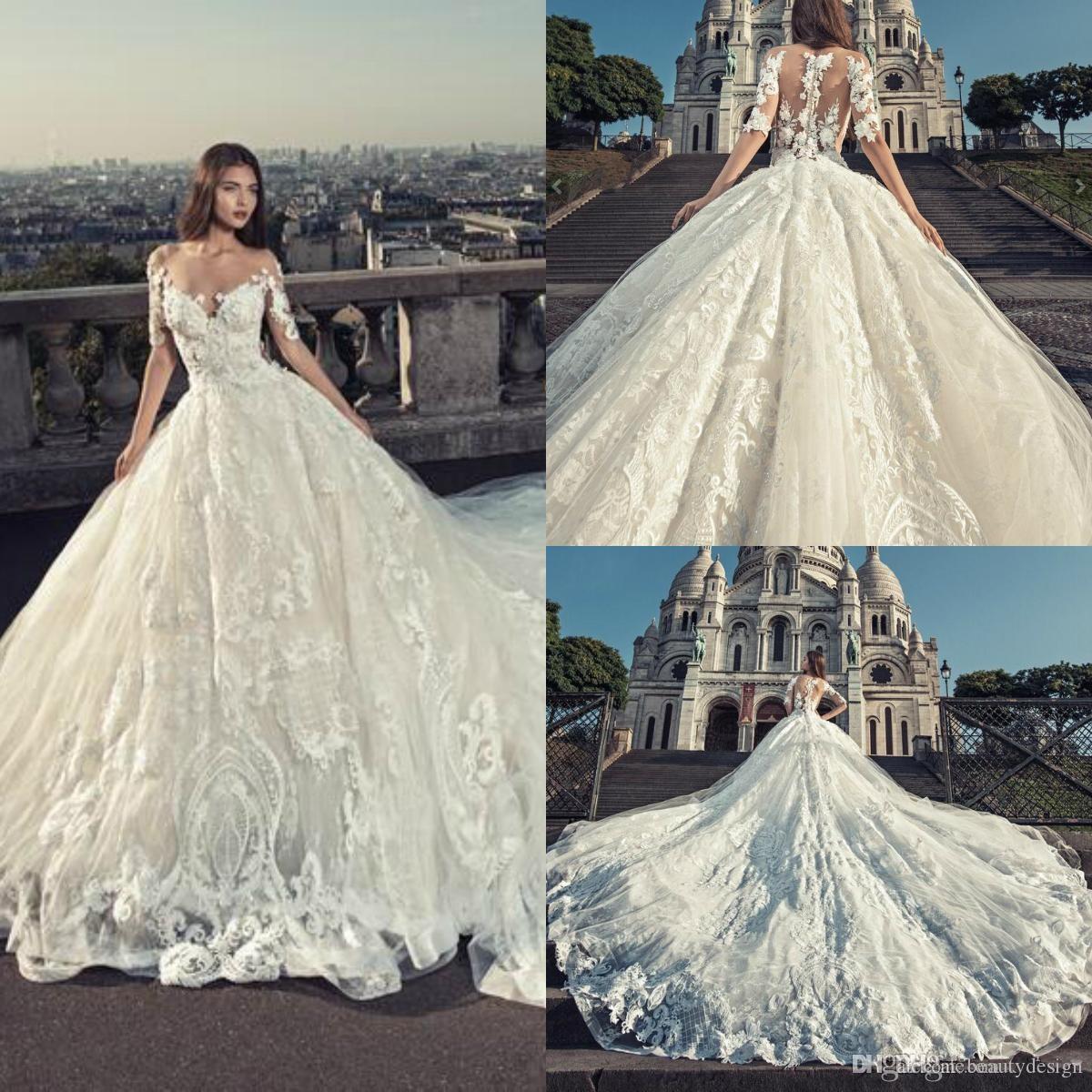 Julia Kontogruni 2020 Wedding Dresses Lace Applique Off Shoulder V Neck Beads Half Sleeve Bridal Gowns Chapel Length Plus Size Wedding Dress