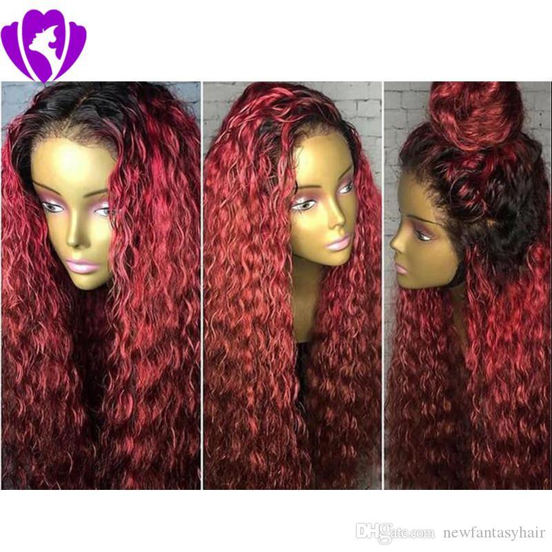 Ombre del color rojo de la peluca del frente del cordón con el pelo del bebé rizado rizado pelucas delanteras del cordón sintético para mujeres sin cola de encaje pelucas