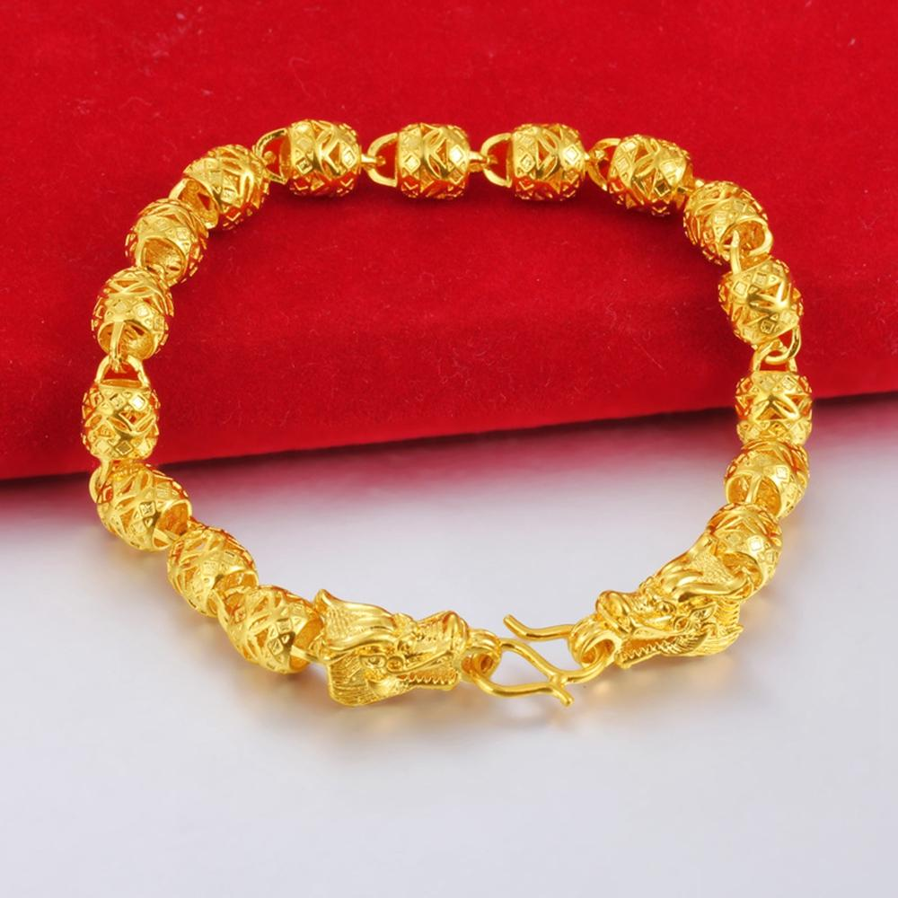 Hollow Wrist Beads Catena oro giallo 18 carati riempito donne regalo del Mens del braccialetto di modo di stile classico