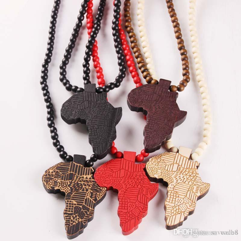 Fashion Made Stylish Africa Map Pendant Hip Hop 8mm Wood Beads Long Chain Men Wooden Pendants Necklaces Jewelry Gift