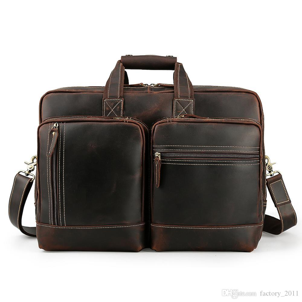 Shoulder Satchel Briefcases Branded Design Cross Body Laptop Bag Vintage Cow Leather Man Briefcase European and American Style LX1433