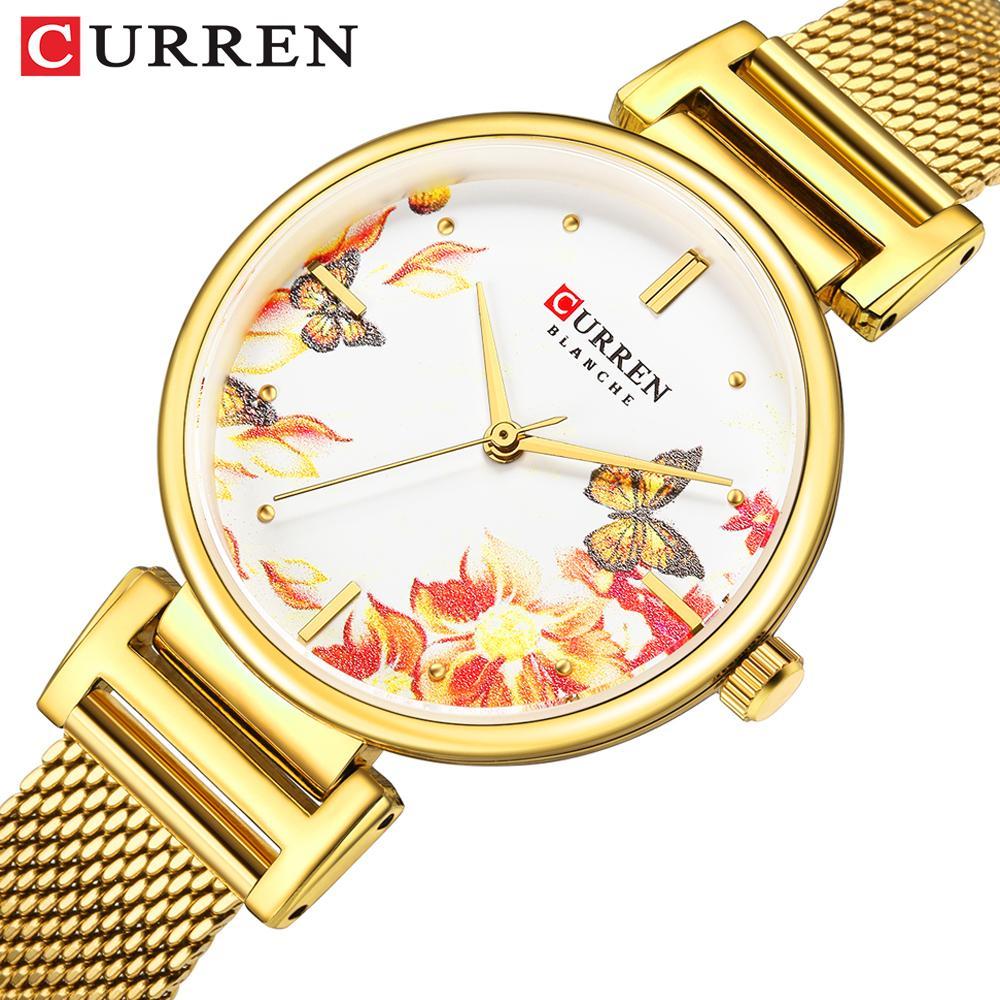 Aço inoxidável New CURREN Watches Women Watch Flower Design bonito relógio de pulso por Mulheres Verão Ladies Watch Quartz Relógio