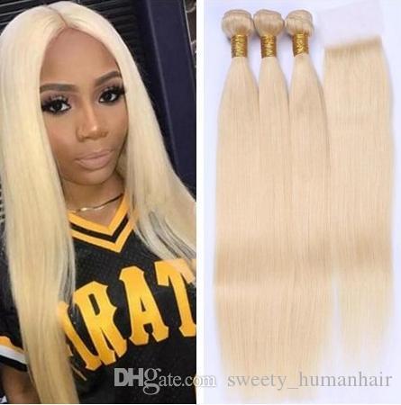 613 blonde gerade brasilianische Haarwebartmenschenhaar Bundles mit Closure 3pc Haar und 1PC-Spitze-Schliessen