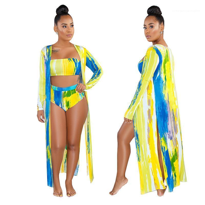 Farbdruck hohe Taille Bikini-Sets mit Cape-Strand-Badebekleidung Sommer Drei-teilige Badeanzüge Mode Multi