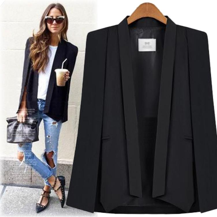 New Fashion Black White Long Sleeve Cape Coat Women Lapel Split Cloak Jacket Suits Womens OL Office Workwear Gift T200319
