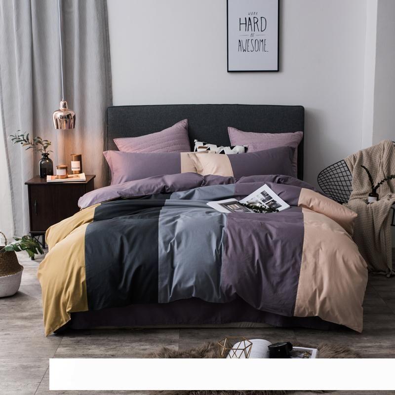100% coton couverture gris café vert violet rose taille Literie king queen double enfants adultes de couette draps de lit mis Parure T200326