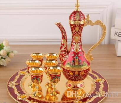 Grigard Presente Europeu para a jóia do hotel Novo floral ouro vinho vermelho liga de prata retro 8 conjuntos home hotel decoração de exibição