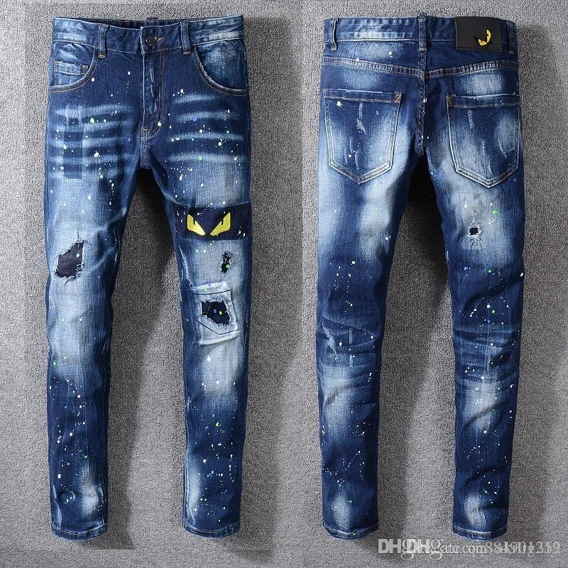 19ss Summer New Mens Creative Cat Eye Embroidery Jeans Men Korean Version Designer Jeans Wrinkle Patch Stretch Slim Feet Pants Size 28-40