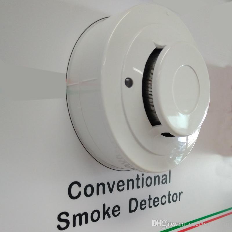 حار بيع 2 سلك الدخان الانذار بصري كاشف الحريق DC9-28V استشعار الدخان يعمل مع أي لوحة التحكم إنذار الحريق التقليدية