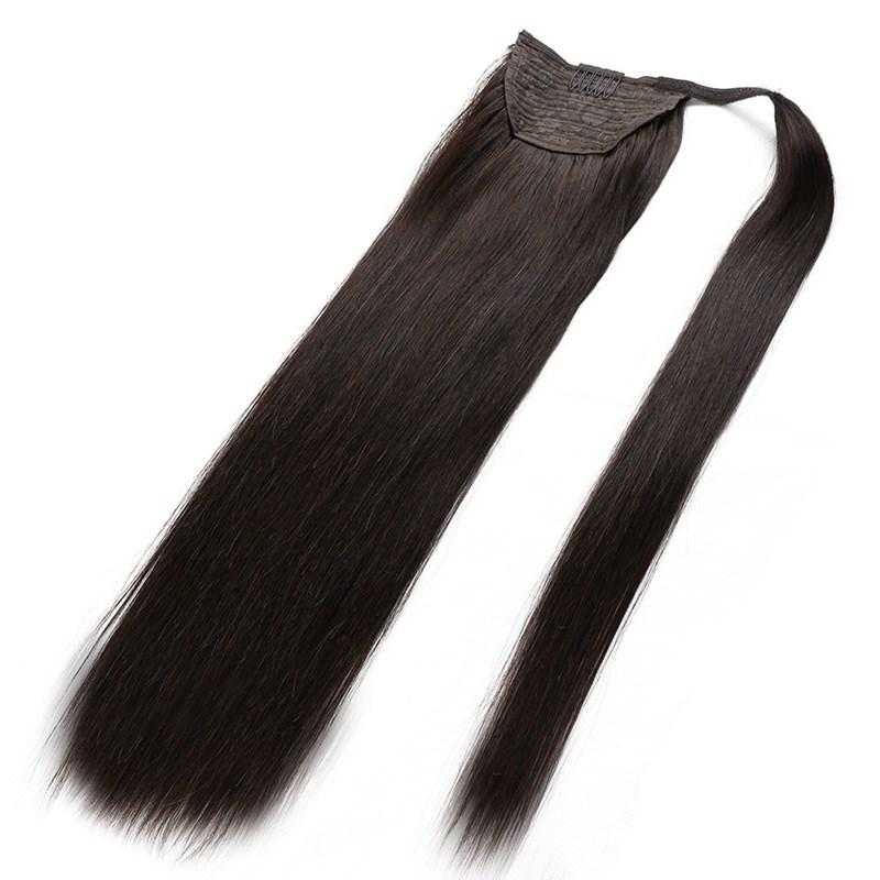 Hotsale 100% Mensch Remy Haar natürlicher schwarzer Farbe Haar Pferdeschwanz Schachtelhalm Clips in / auf Menschenhaar-Verlängerung Freien DHL