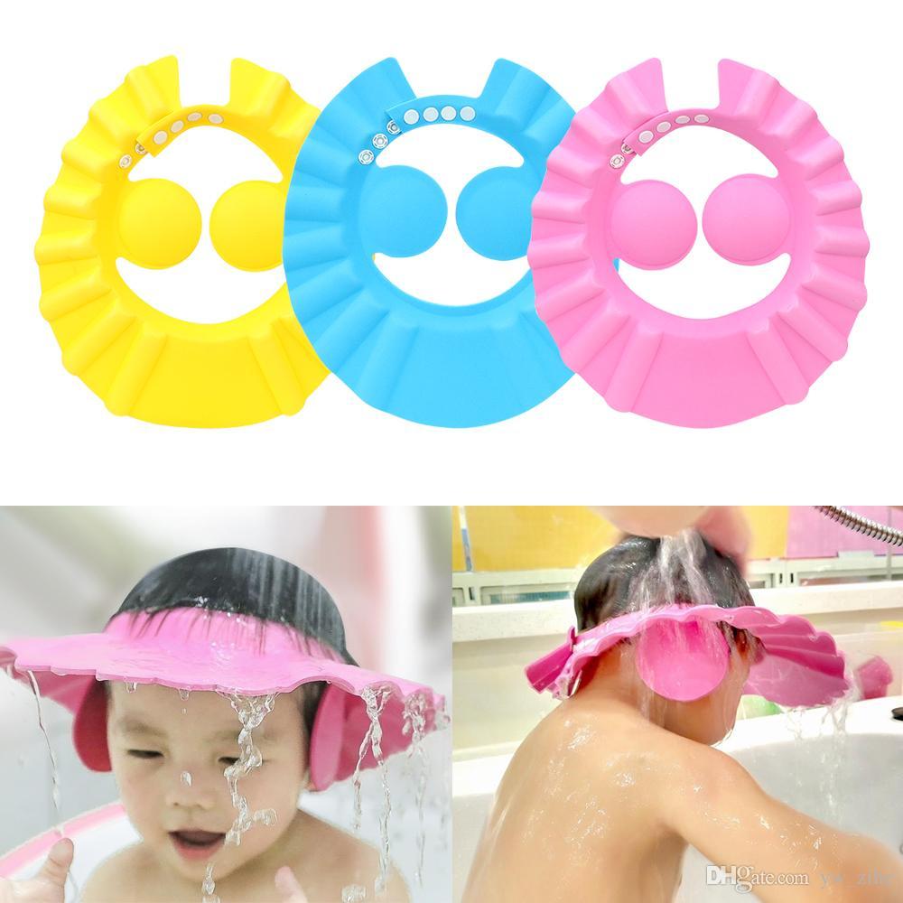 5pcs Bath Wash Hair Cap Ear Protection Children Shampoo Cap Shower Caps Baby Shower Shield Hat Safe Soft Hat lp74