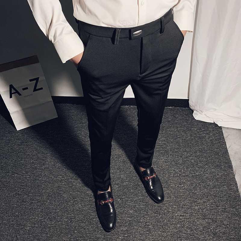 Compre Pantalones De Vestir Para Hombre Juego De Negocio De Las Bragas De La Altura Del Tobillo Ocasional De Los Nuevos Hombres De La Primavera De 2020 De Alta Calidad Formal Trabajo