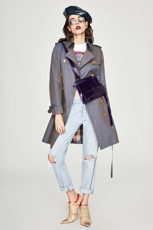 mujeres del estilo de Inglaterra trenca 2019 otoño / invierno abrigo cazadora doble-Pecho-A637 elegante abrigo de las mujeres elegantes