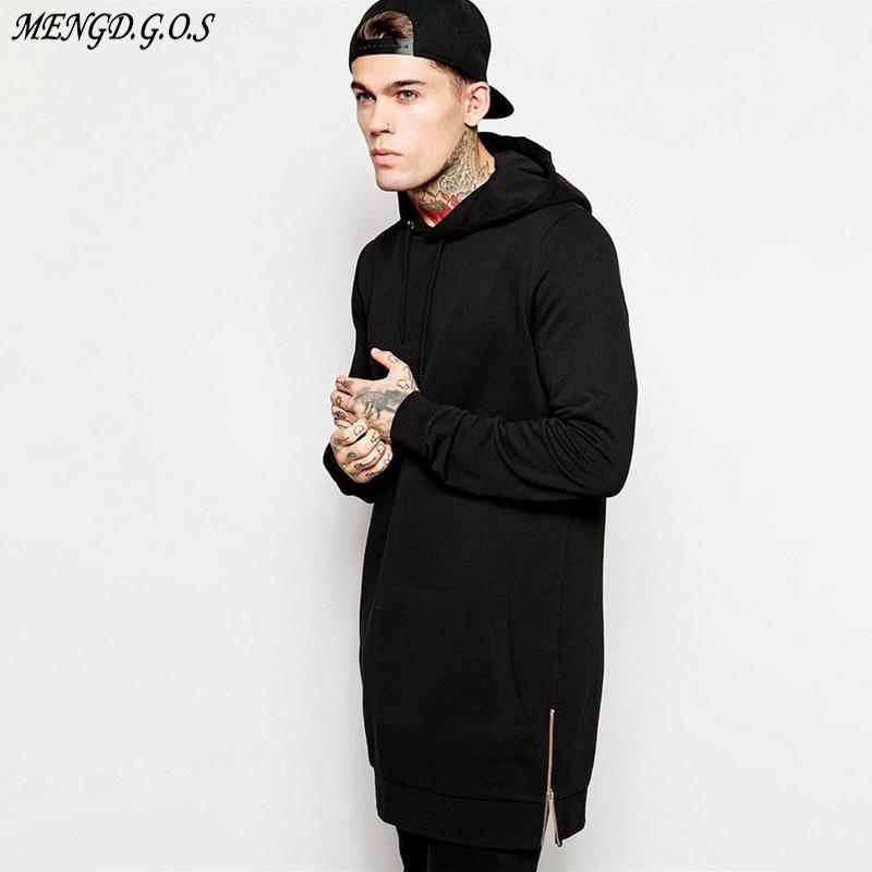 Jogger Streetwear Marka Erkekler Hoodie Hip Hop Casual Uzun Ceket Sonbahar ve Kış Moda Pamuk Erkek Giyim Y200704