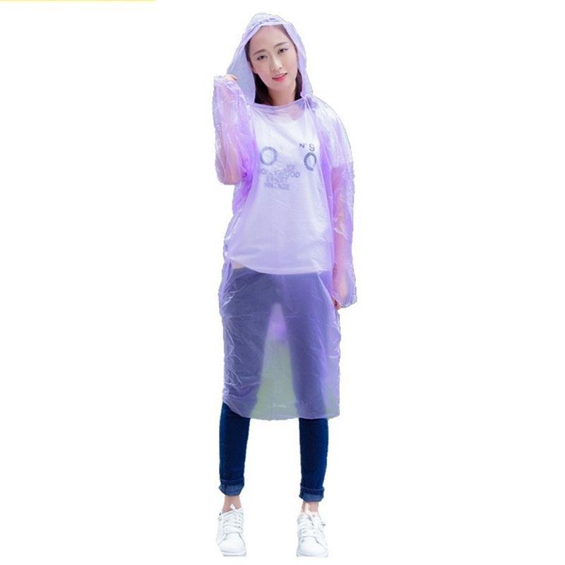 Kalınlaşmış Tek Yağmurluk Şeffaf PE Plastik Acil Kapşonlu Yağmurluk Tur Zorunlu Rainwear Panço Yetişkin Üst Kalite 0 6fsa E19