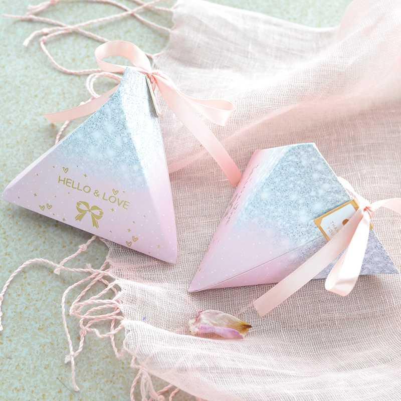Geburtstags-Party Jahrestag Hochzeit Bevorzugungen Bomboniere Papier dank Partei Schokoladenkasten Bronzing Rosa Easy Fold