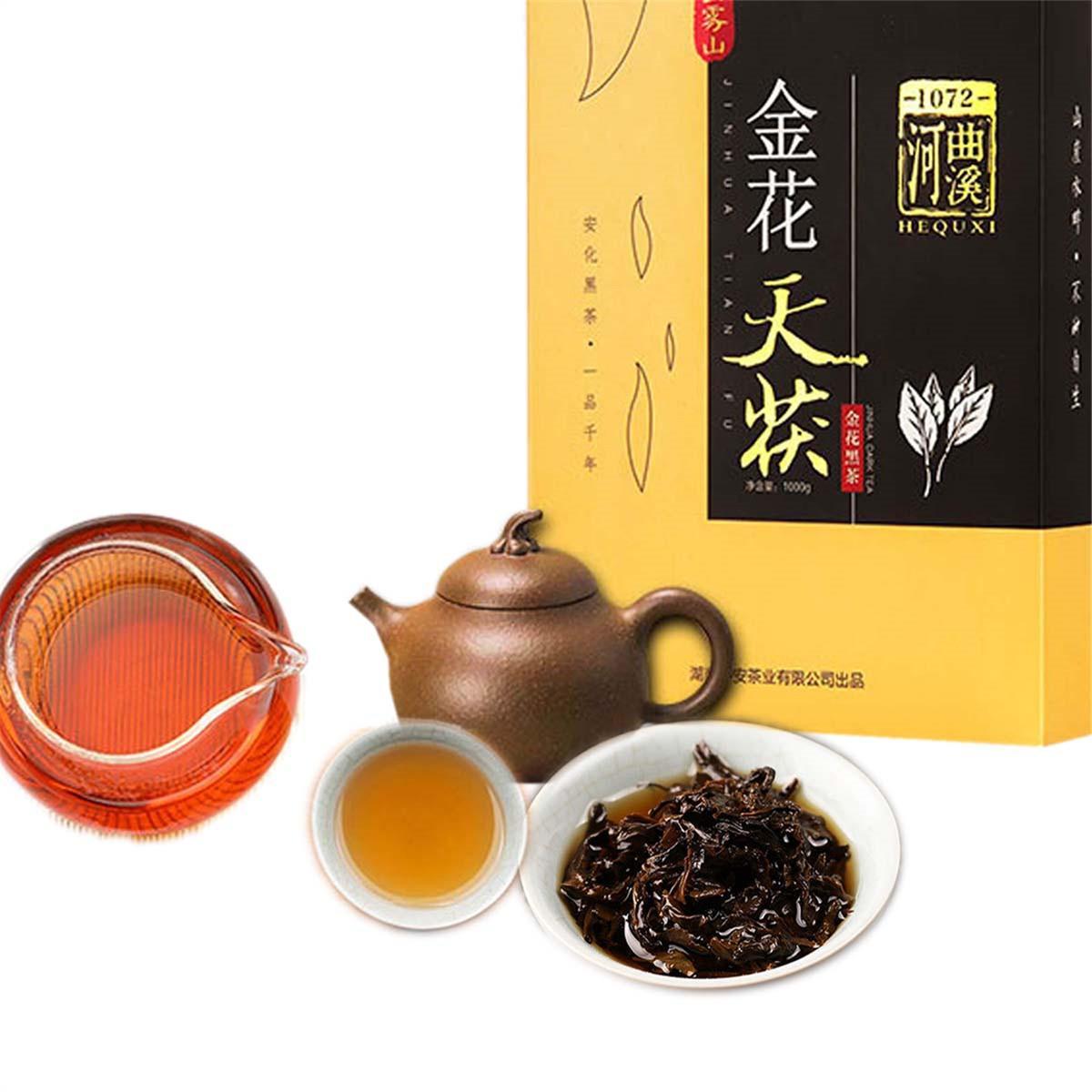 Tercih edilmekte 1000g Premium Çinli Hunan Anhua Siyah Çay Fu Tuğla Çay Özel Jinhua Golden Flower Sağlıklı Yeşil Gıda