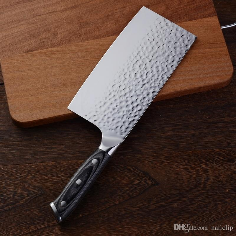 Stainless Steel Kitchen Knife Meat Cleaver Butcher Knife Chopper Knife Vegetable Fruit Cutter with Wooden Handle
