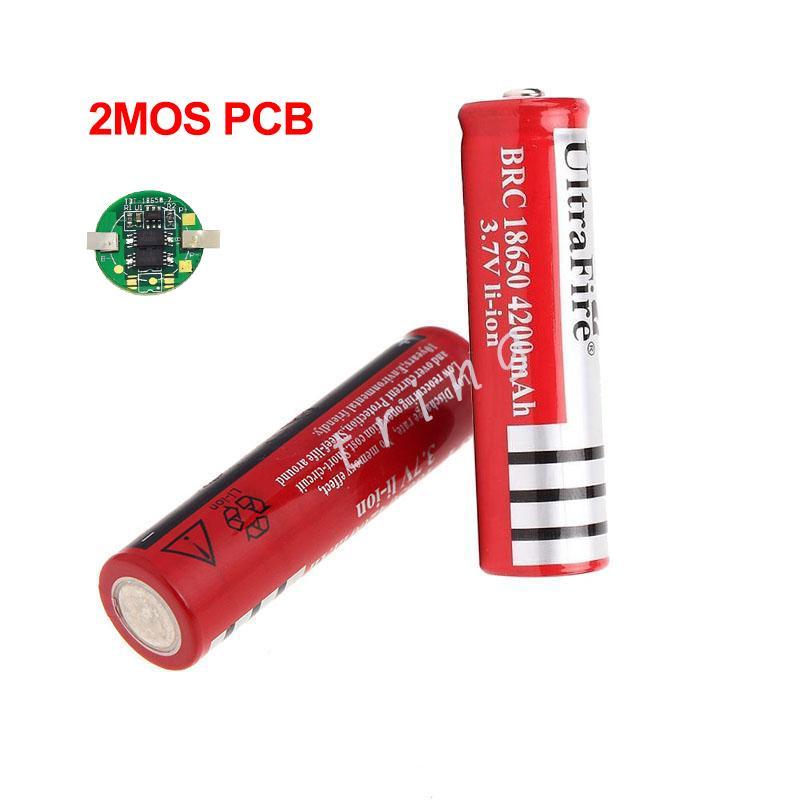 새로운 UltraFire 18650 4.2V 3.7 4200mAh Ultrafire Flashlighs 토치를위한 PCB와 18650 충전식 리튬 리튬 이온 배터리