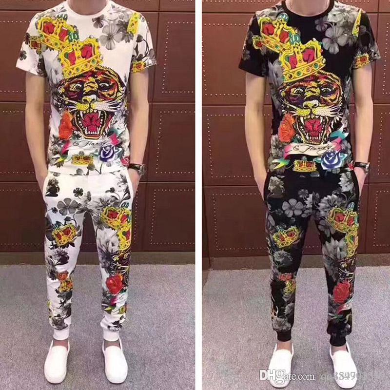 Designer de luxo Mens Sweat Suits 19ss New Verão Marca Mens Fatos Define Jogger Jacket Pants + Sporting Suit Hip Hop Moletons