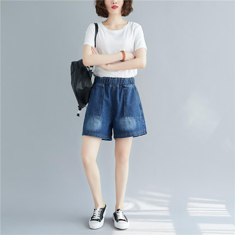 Calças de ganga Mulheres Jeans Verão New alta cintura cor sólida cintura elástica Feminino calças largas Plus Size Mulheres calças perna larga