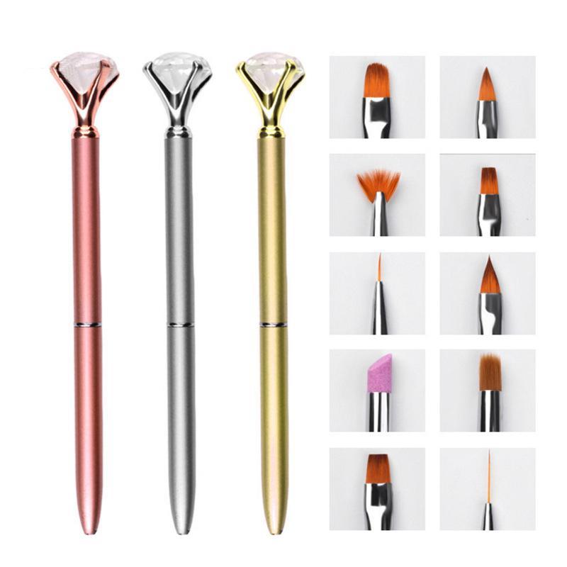 2018 New10pcs Substituível Pintado Unha Escova Conjuntos de Puxar Quartz Smudge Caneta de Prego Grande Diamante Set nail art Pintado caneta
