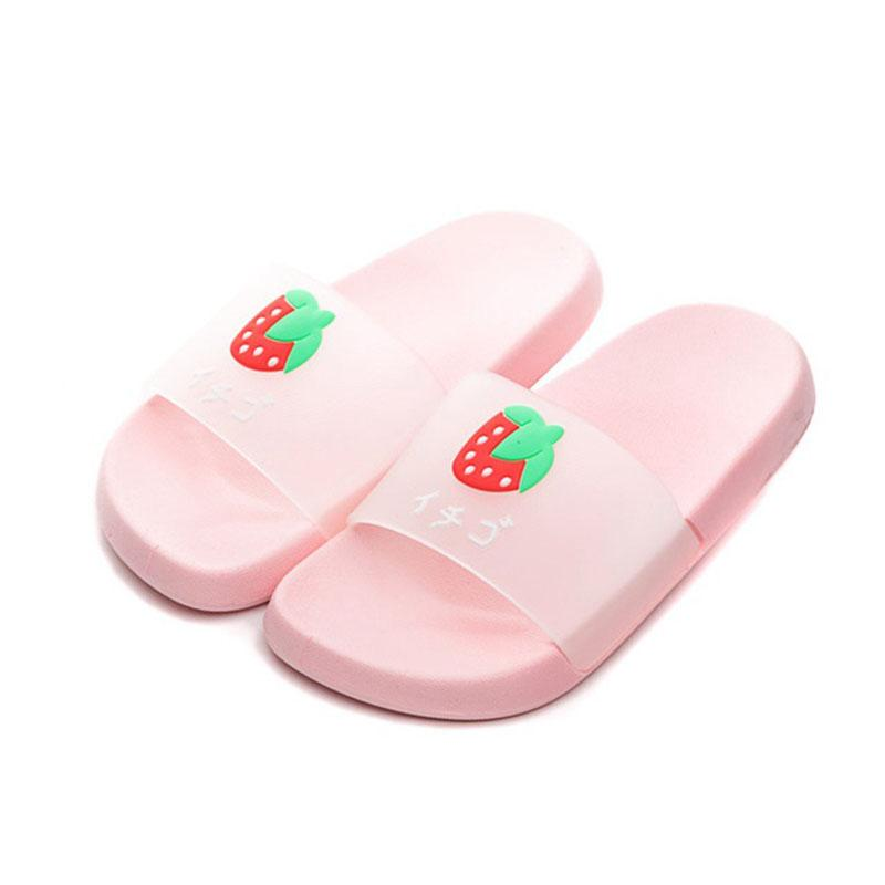 COZULMA Girls Candy Color Beach Slippers Kids Boys Cute Fruit Summer Indoor Slippers Shoes Children Non-Slip Slides Size 24-38