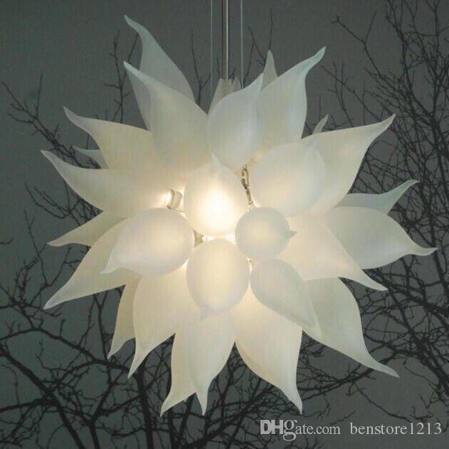 Лампы европейские светодиодные хрустальные люстры светильники подвеска матовый белый подвесной лампа итальянское ручное взорное стекло люстры освещение