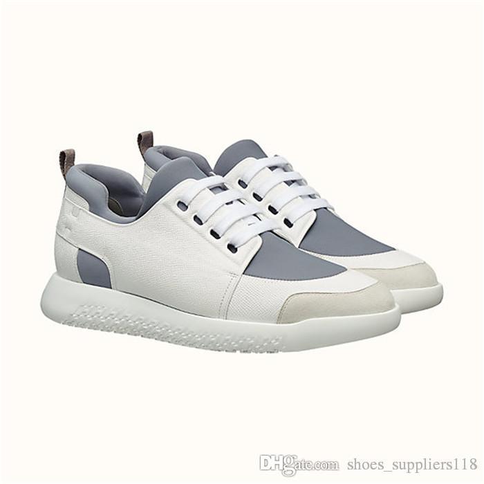 Klassischer Herren-Sneaker aus technischem Canvas und Epsom-Kalbsleder mit festen Schnürsenkeln zum Anziehen. Flache Designer-Freizeitschuhe