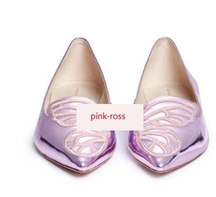 Envío gratis moda 2019 señoras de charol zapatos puntiagudos planos bordados adornos de mariposa Sophia Webster púrpura ZAPATOS 34-42 01