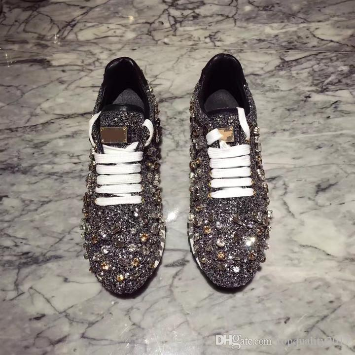 35c19c63bfd10 ... New Rhinestones Sneakers Women Shoe Laces Paillette Spell Color Flat  Shoes Ladies Real Leather Causal Shoes ...