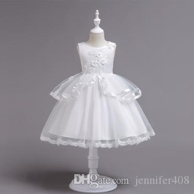 Barato Crianças roupas vestido de princesa menina bordado vestido de baile flor do bebê vestido de festa de casamento arco ação de graças traje de Natal