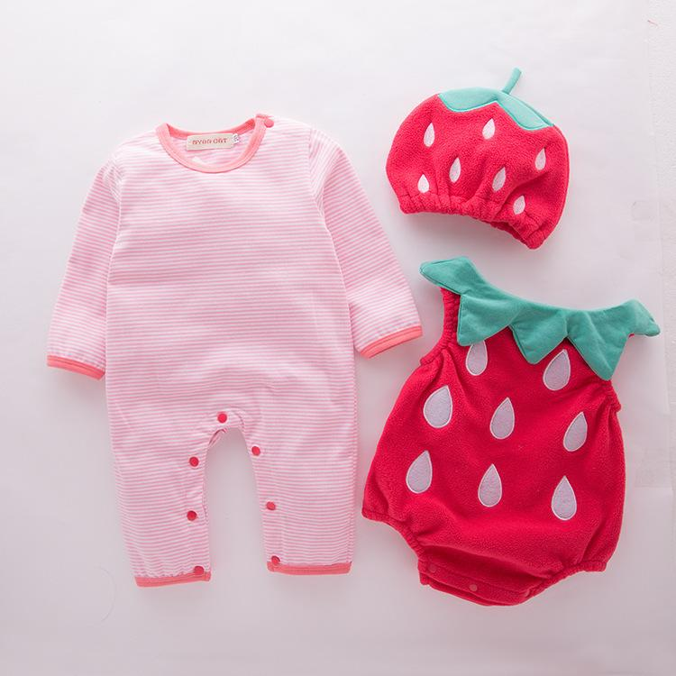 Baby Girl Outfit Strawberry Costume Full Sleeve Pagliaccetto + cappello + gilet Infant Halloween Festival Purim Photography Abbigliamento Y19061201