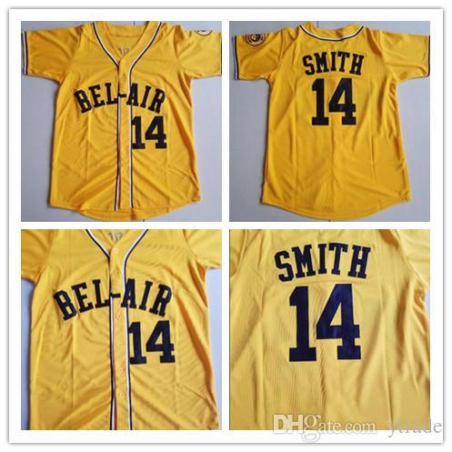Will Smith # 14 Academia Bel-Air College Camisolas De Beisebol Homens Costurados O Novo Príncipe De Bel-Air Filme Camisas Camisas Amarelo