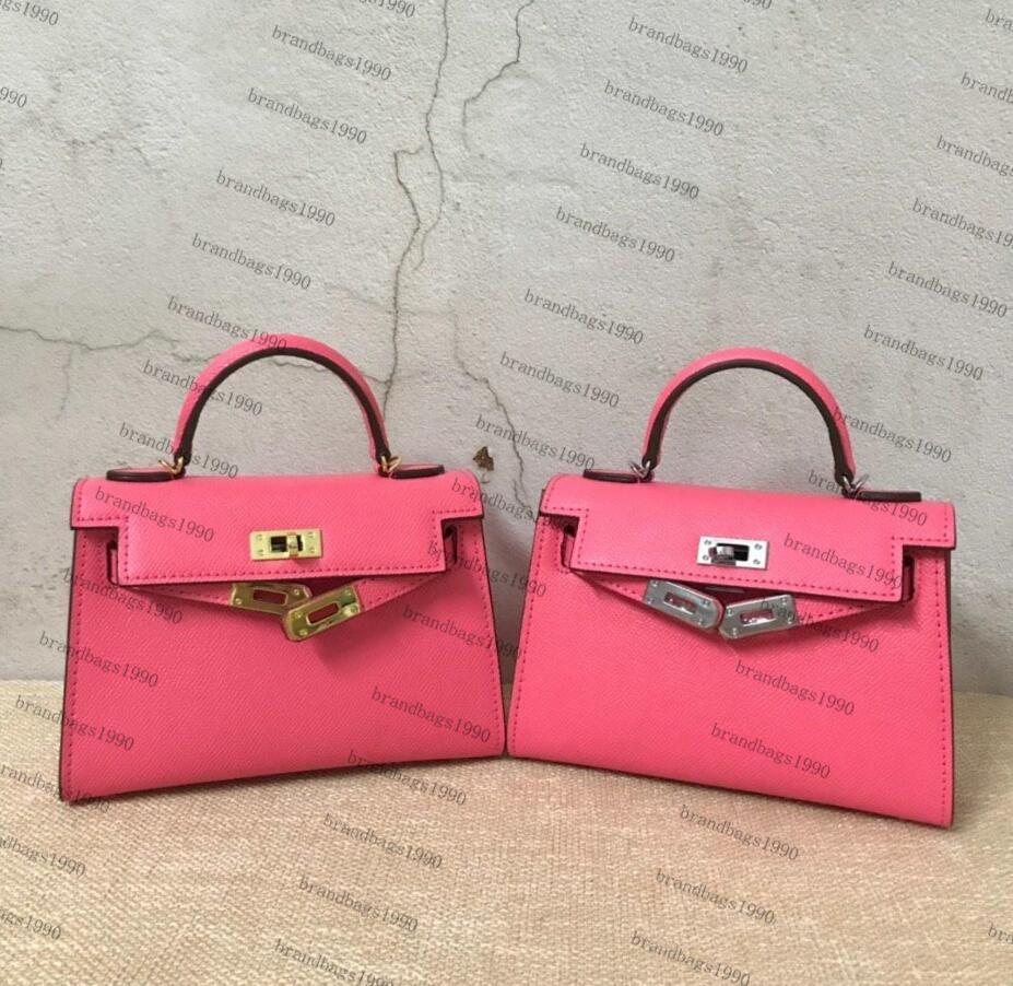 Nouvelle couleur rose 22cm Mini Sacs de mode femmes Totes sacs en cuir véritable sac à bandoulière avec la mode Cheval écharpe verrouillage dame sac à main de haute qualité