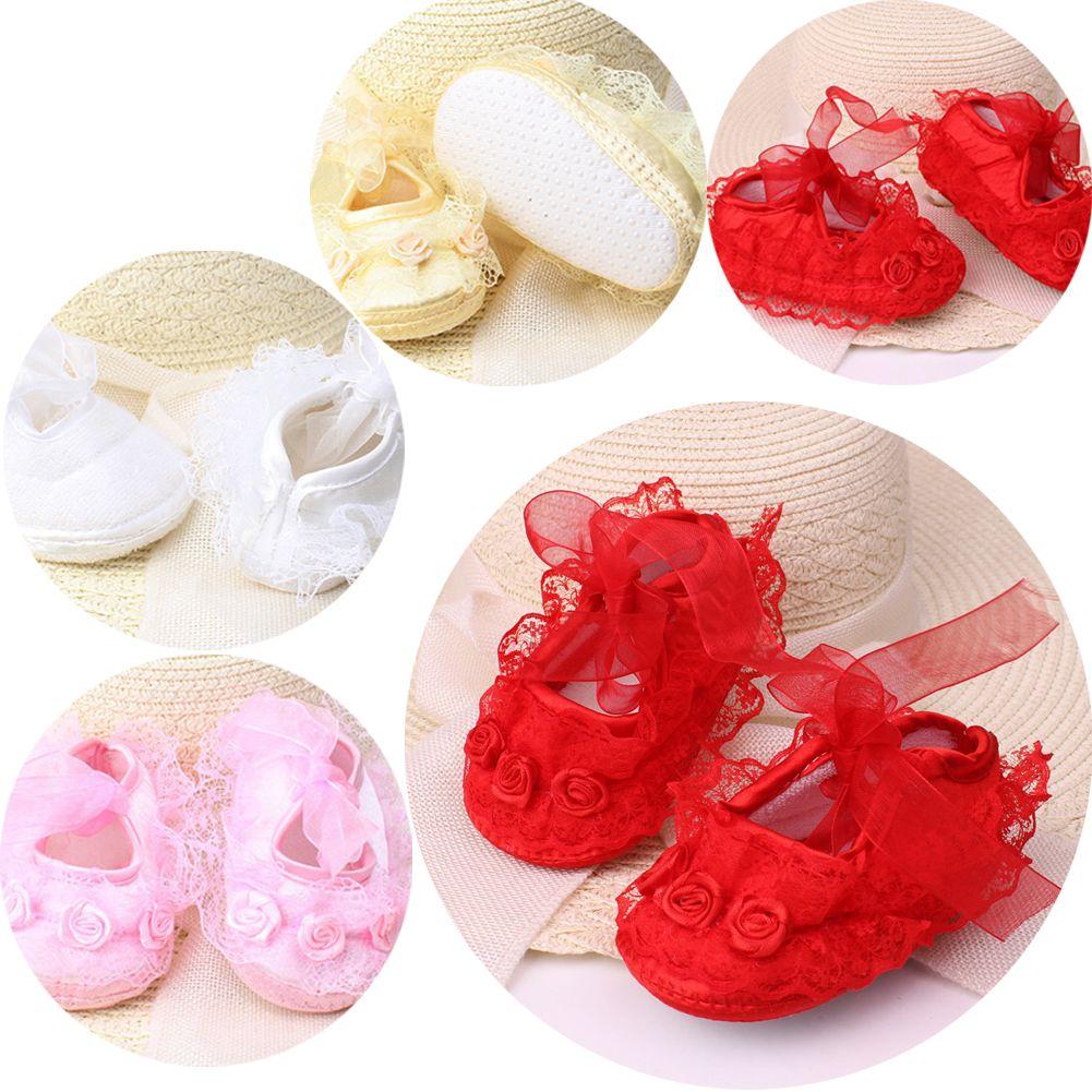 Summer Baby Girls Shoes Newborn Lace Flower Soft Sole Sandals First Walker Shoe