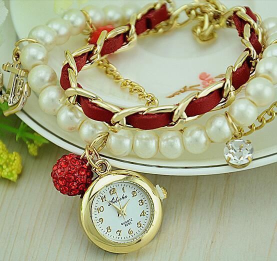 Fashion Pearl Chain Women Bracelet watch boat anchor pendant Rhinestone Watches Vintage Clocks Rudder Anchor Tag Lady Pearl Watch