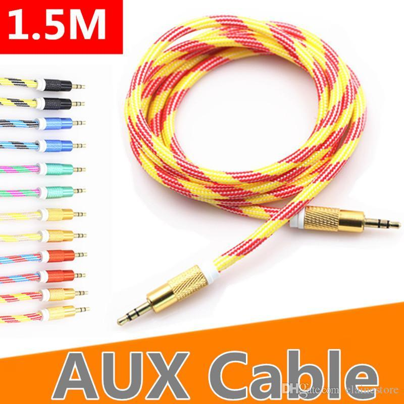 2020 New AUX Cable 3.5mm OD 5.0 Thicker Nylon Braided Tangle-Free Auxiliary Audio Cable 5ft 1.5m for Headphones sumsang Home Car Stereos