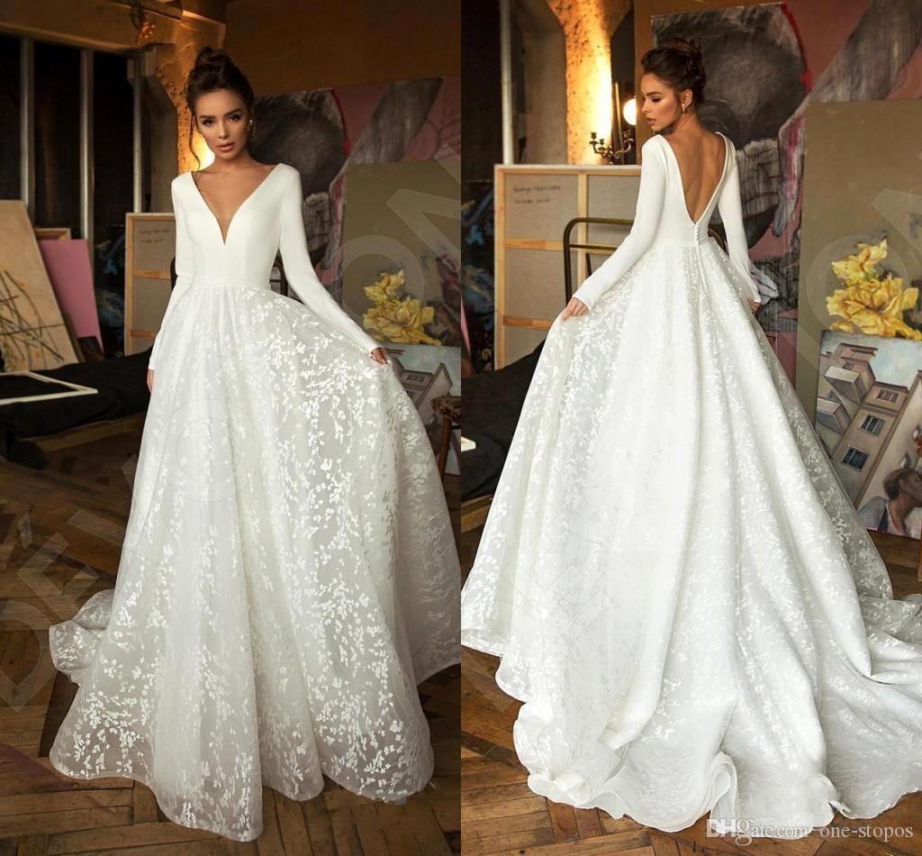 Berta 2019 с длинными рукавами A-Line Beach Bohemian Свадебные платья Vintage V Wee Open Back Plus Размер Boho Bridal Plock BC2474