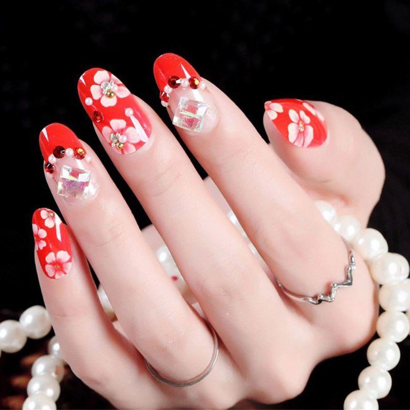 24pcs / boîte arrière Adhesive Bride manucure fini presse clous Faux rouge sur Fleur Brillant diamant décoration Conseils Faux ongles Patches