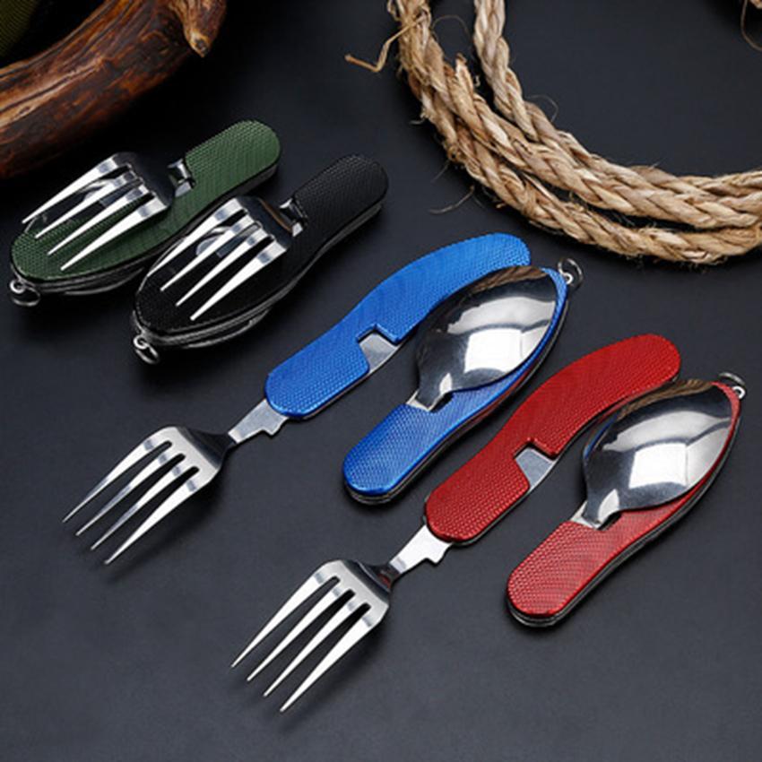 4 в 1 открытая посуда (вилка / ложка / нож / нож / открывалка для бутылок) кемпинг из нержавеющей стали складные карманные наборы для пеших выживаний