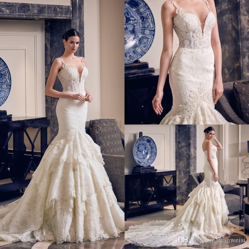 2019 화려한 인어 레이스 웨딩 드레스 스파게티 넥 프릴 보헤미안 웨딩 드레스 Appliqued 플러스 사이즈 신부 드레스 Vestidos de Nnovia
