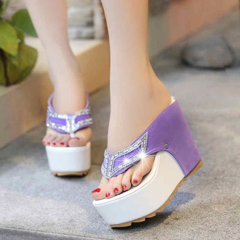 2019 New Women Summer Platform Wedges Shoes Black Purple Sandals for Ladies Women Bling Slides Flip Flop Shoes