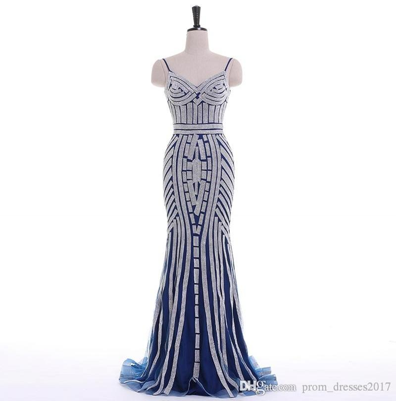 Bling Long Silver Пром платья V-образным вырезом без рукавов на молнии развертки поезд тюль с кристаллом Straight партии Вечерние платья сшитое