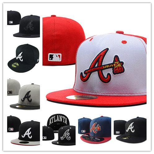 2020 hot Many Colors Men Braves Fitted hats flat Brim embroidered A logo on field Atlanta fans baseball Hats full closed cap