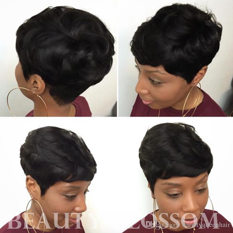 Perruques de cheveux humains légers ondulés Perruques ondulées courtes sans colle pour les femmes African Amerimen Perruque africaine pour les femmes Perruques afro-américaines