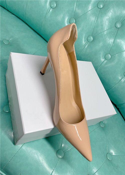 Bombas de cuero real de las mujeres calientes de la venta zapatos de vestir de tacón de aguja en punta del dedo del pie de tacón alto zapatos de fiesta de la boda zapatos de charol noche OL zapato