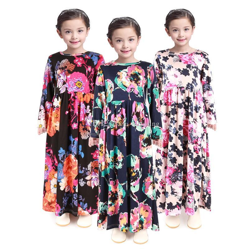 Kız Bohemian Prenses Elbise 2019 İlkbahar Sonbahar uzun kollu Çocuklar Çiçek Elbise Bebek Giyim INS çocuk çiçek baskı Plaj Elbise C6371