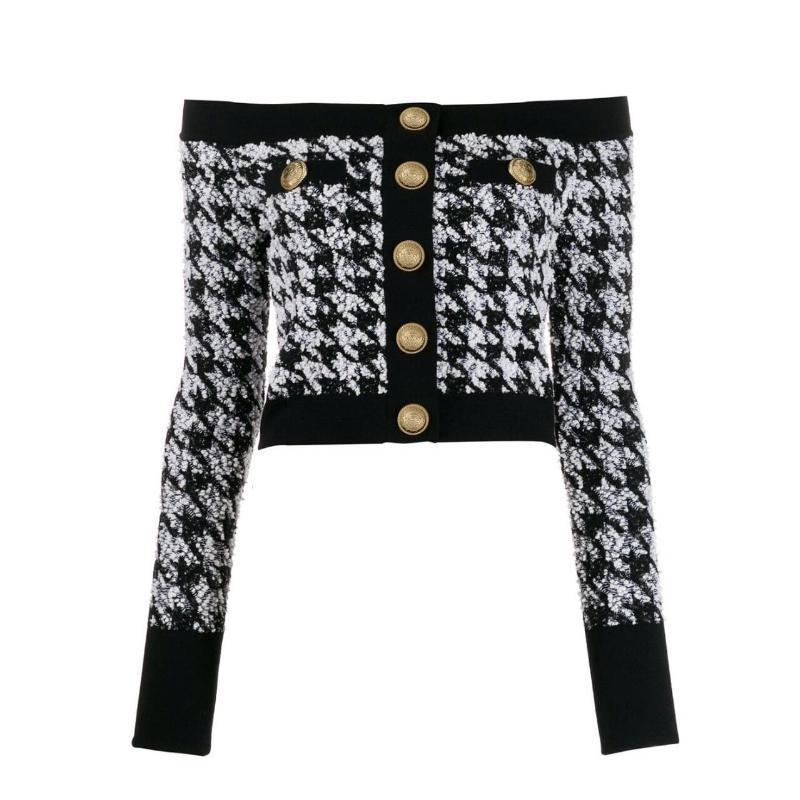 Vestes de femmes Haute Qualité Mode 2021 Designer Jacket Lion boutons Lion Zip Back Retour au dos Tweed Houndsooth Top