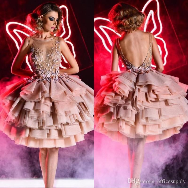 Принцесса Румяна Розовые короткие коктейльные платья без бретелек 3D Цветочные аппликация Многоуровневые платья из органзы Пром